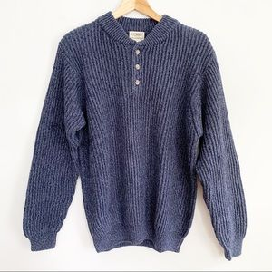 L.L.Beans Crewneck Henley Collar Sweater Navy LG